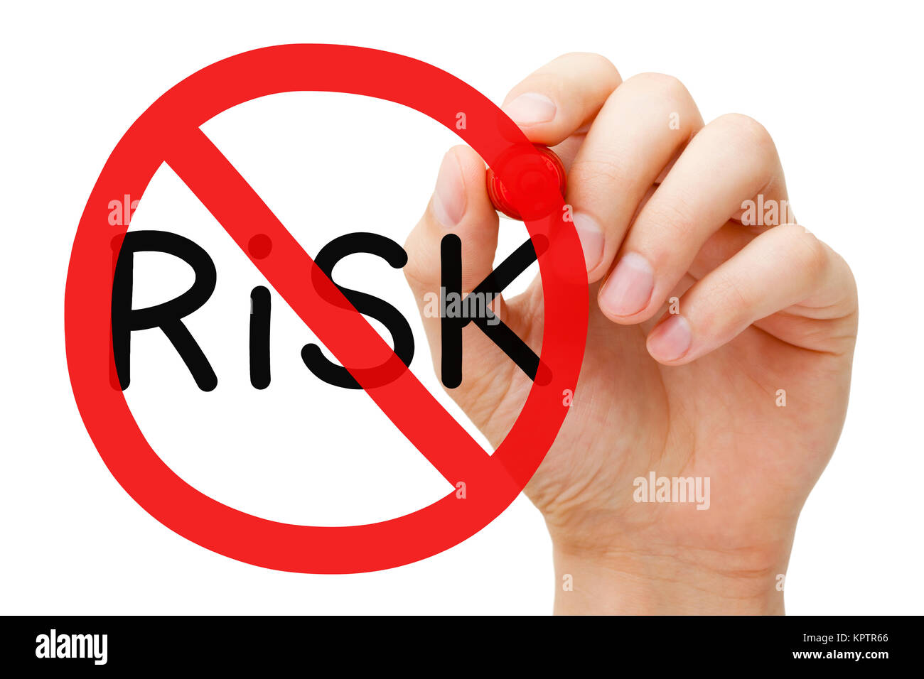 Hand drawing Risk prohibition sign concept with marker on transparent wipe board. Risk free guarantee concept. Stock Photo