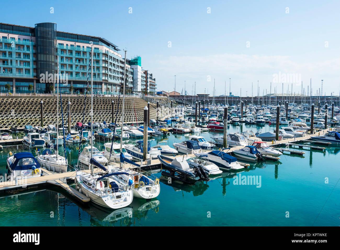 Modern harbour of St. Helier, Jersey, Channel Islands, United Kingdom - Stock Image