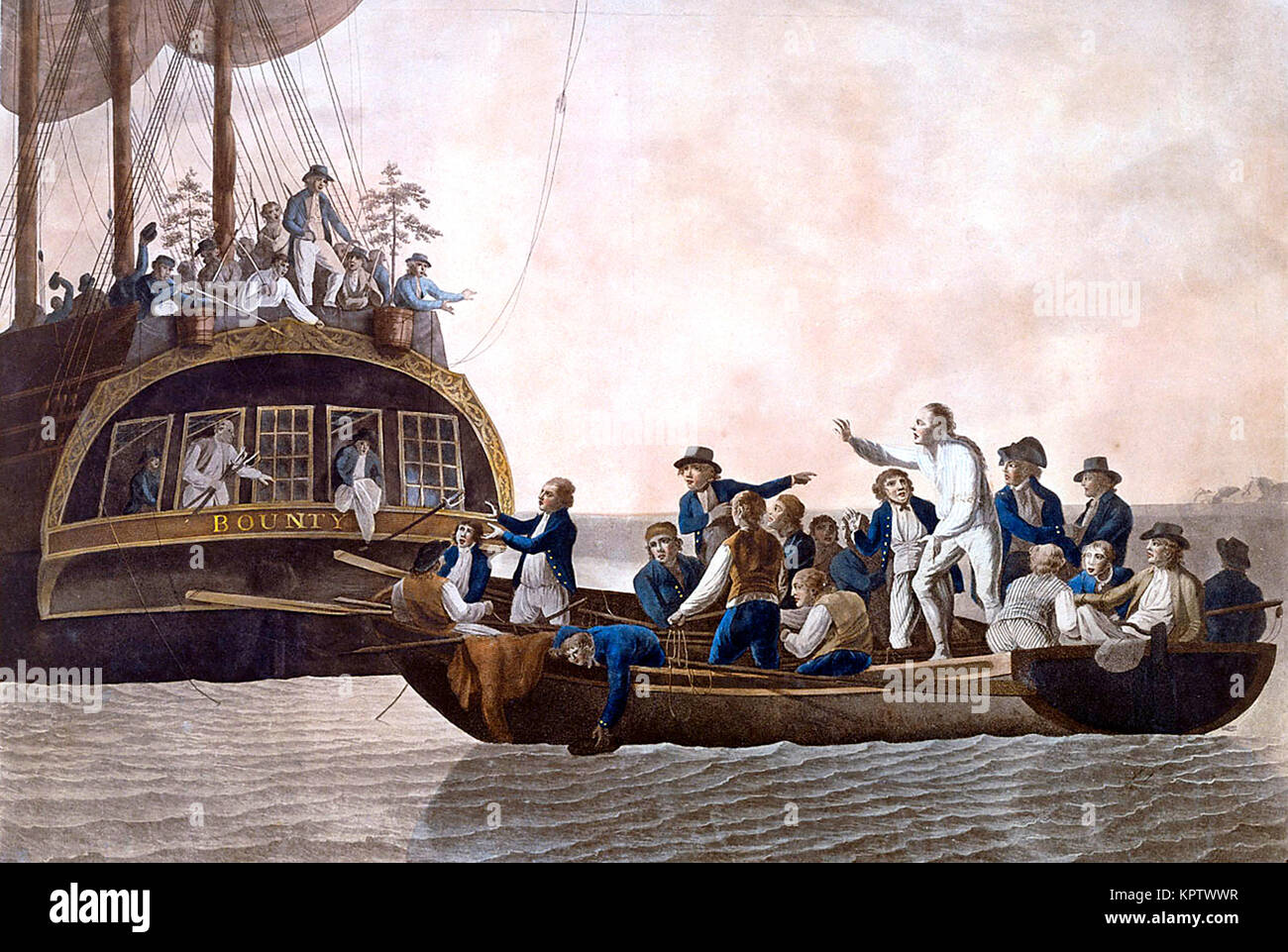 Mutiny on the Bounty, Fletcher Christian and the mutineers turn Lieutenant William Bligh and 18 others adrift. The - Stock Image