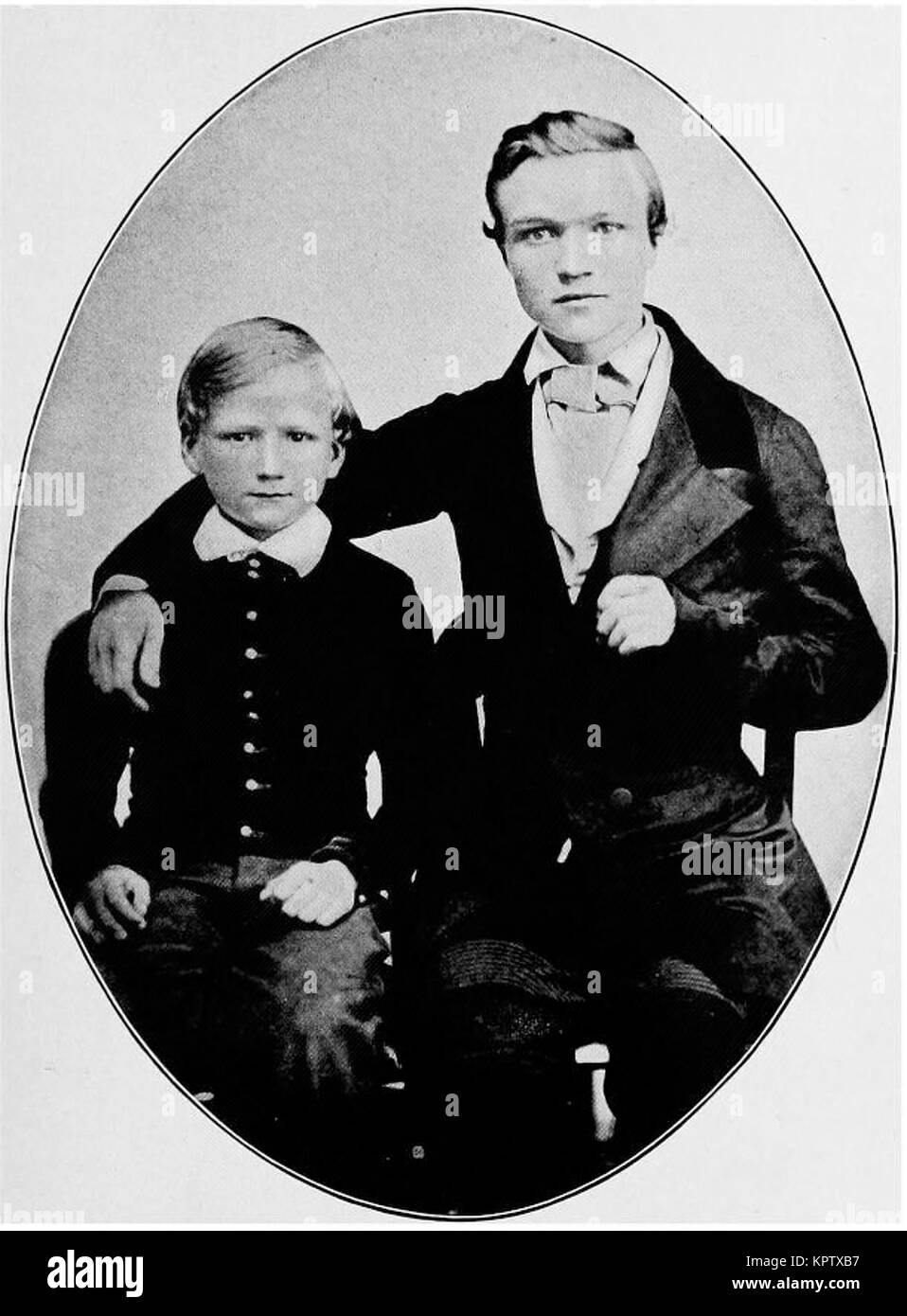 Andrew Carnegie age 16, with brother Thomas - Stock Image