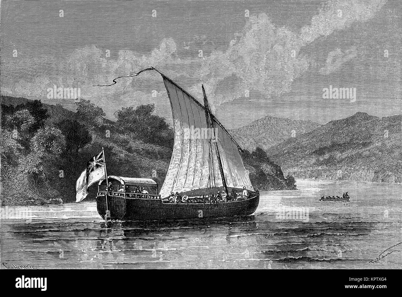 Betsy boat on Lake Tanganyika, Tanzania, Betsy boat of Verney Lovett Cameron - Stock Image
