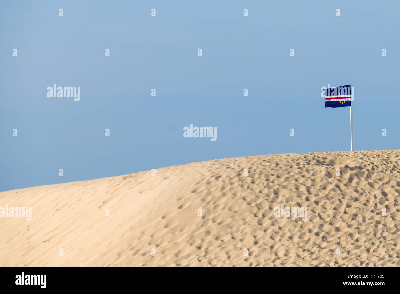 Cape Verde Flag on a sand dune Stock Photo