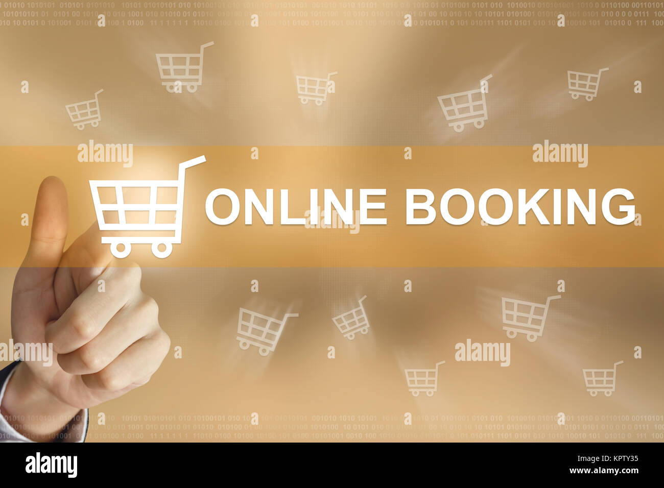 business hand press online booking button - Stock Image