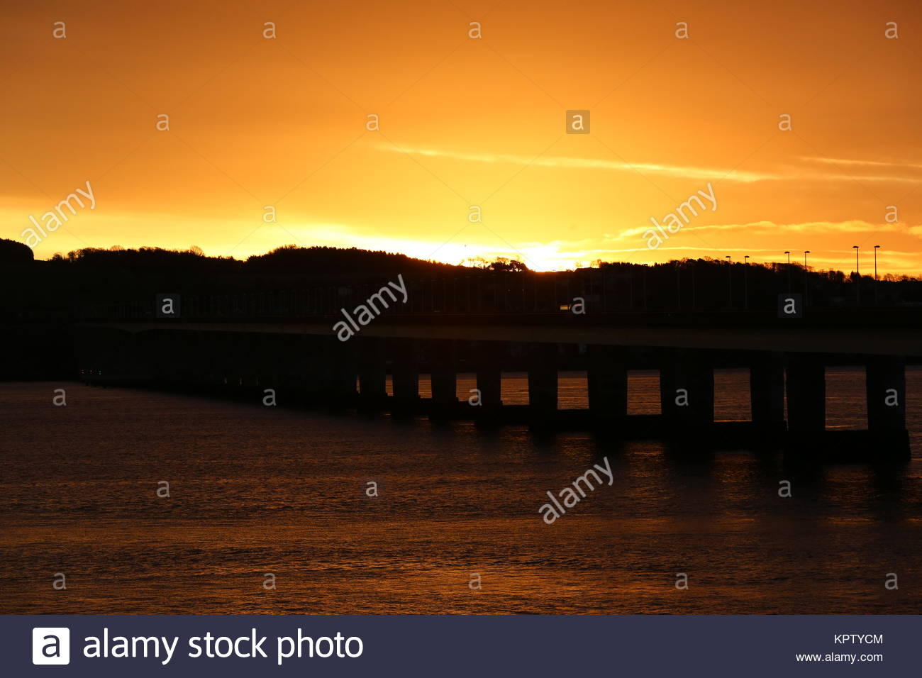 Tay Road Bridge at sunrise Dundee Scotland  December 2017 - Stock Image