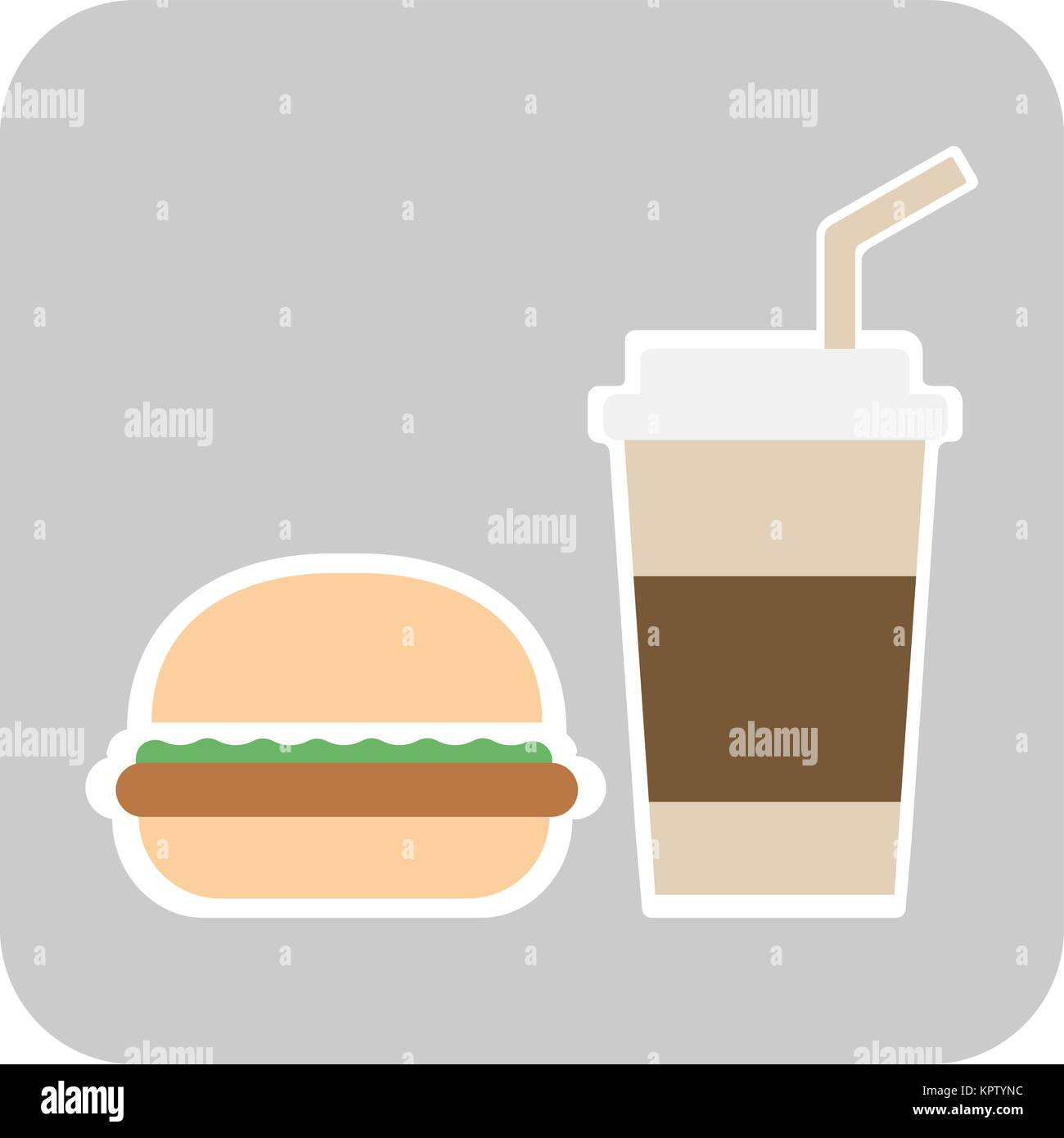 coffee and burger fast food old background - vector - Stock Vector