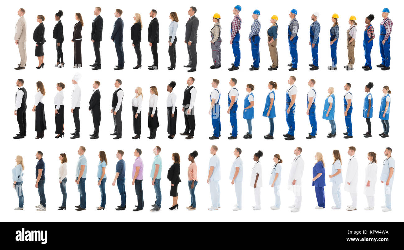 Collage Of People Standing In Line - Stock Image