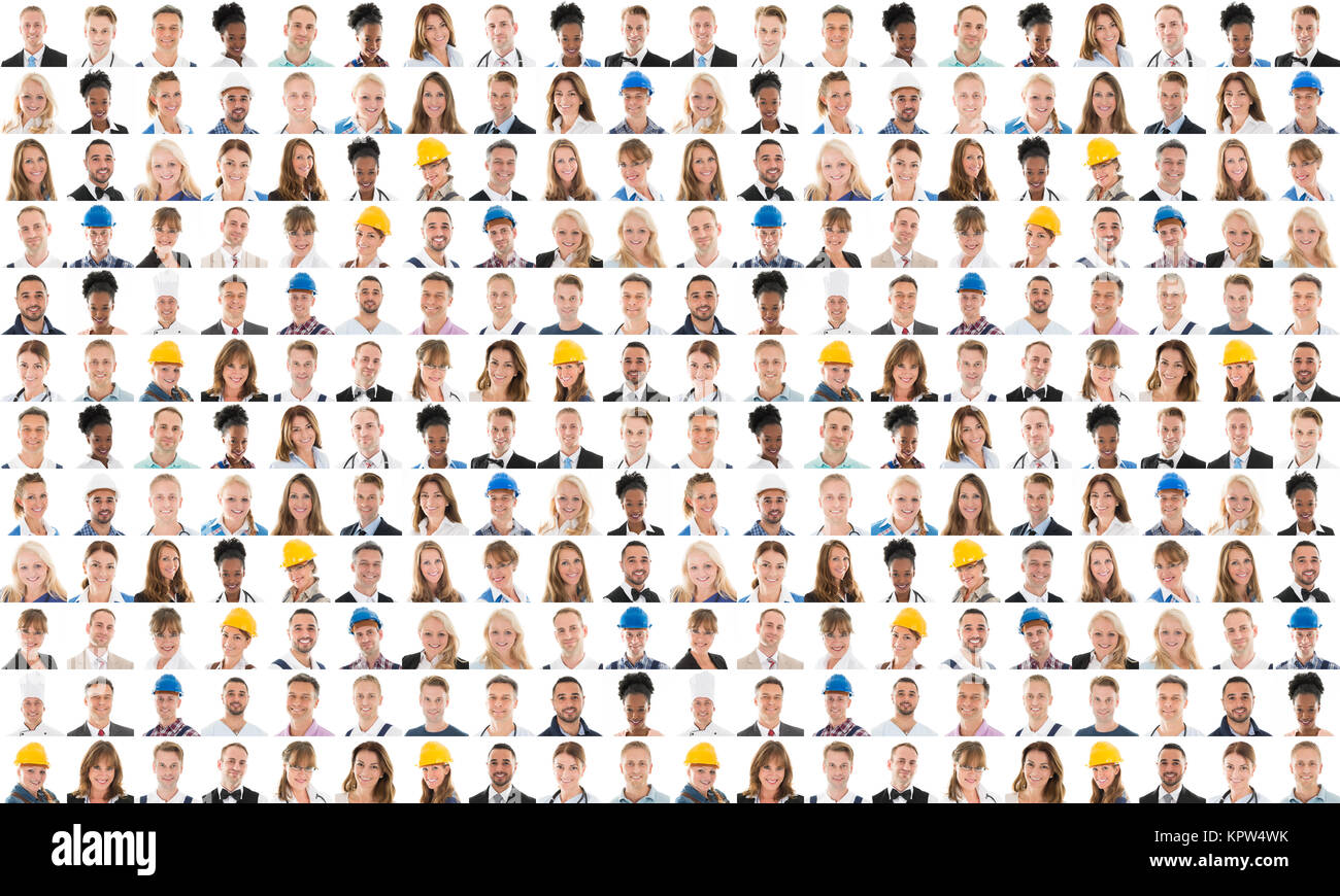 Collage Of Happy People With Various Occupation - Stock Image