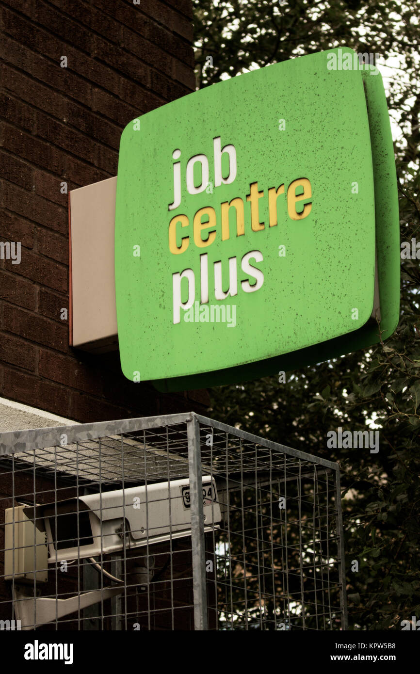 Jobcentre Plus office logo on sign and CCTV camera Stock Photo