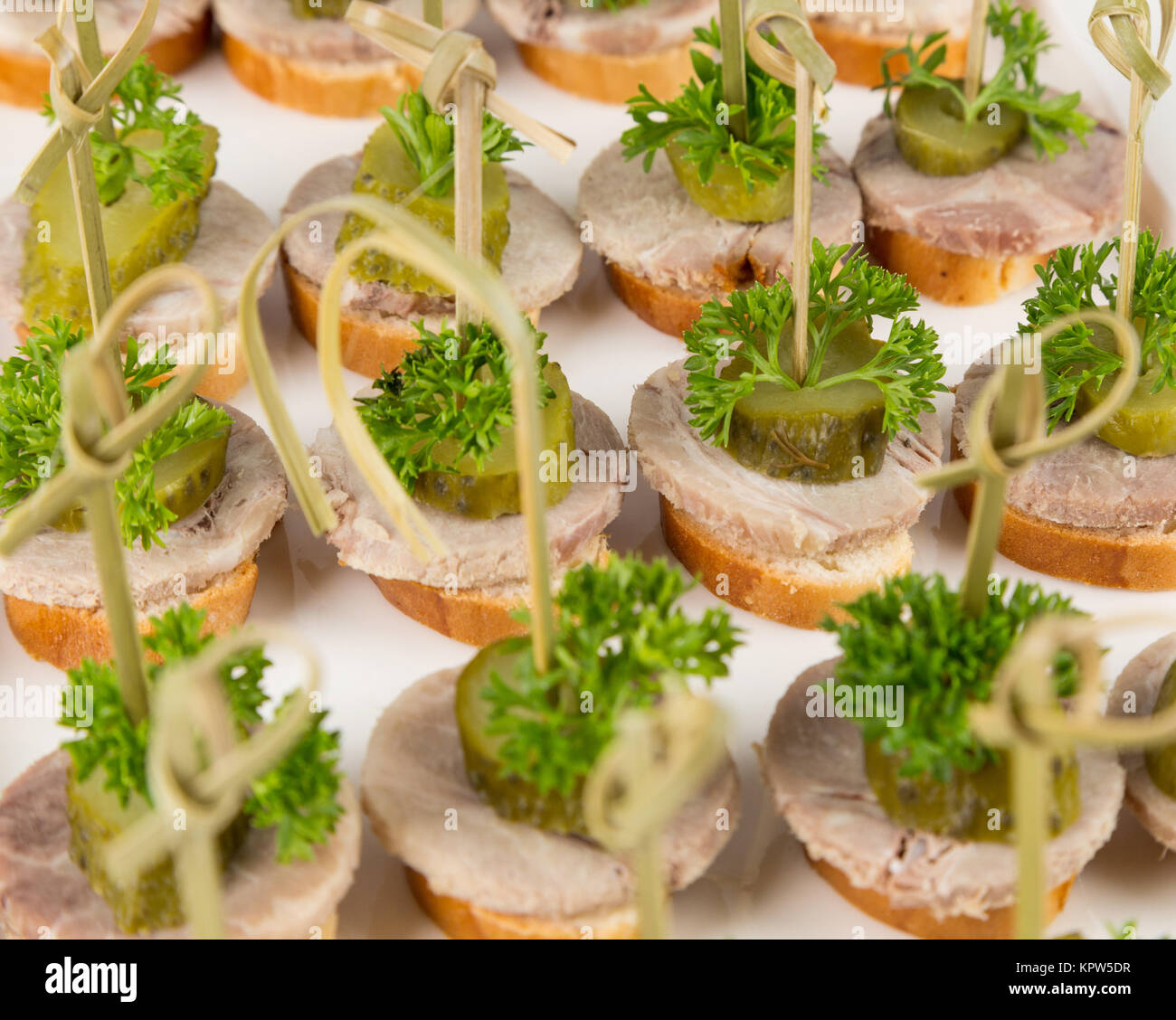 closeup canapes and snacks for catering - Stock Image