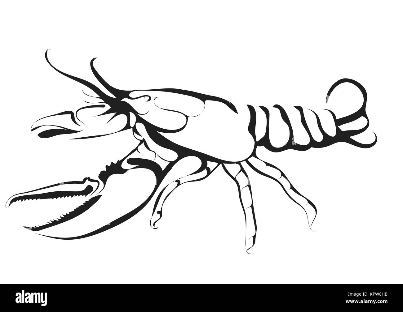 abstract silhouette of lobster - Stock Image