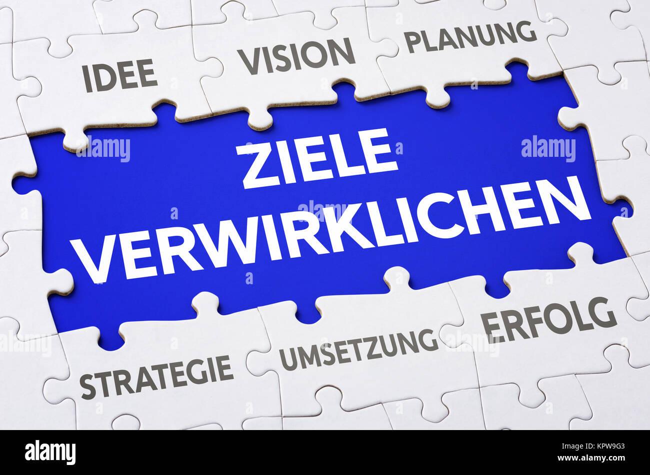 Puzzle - Ziele verwirklichen Stock Photo