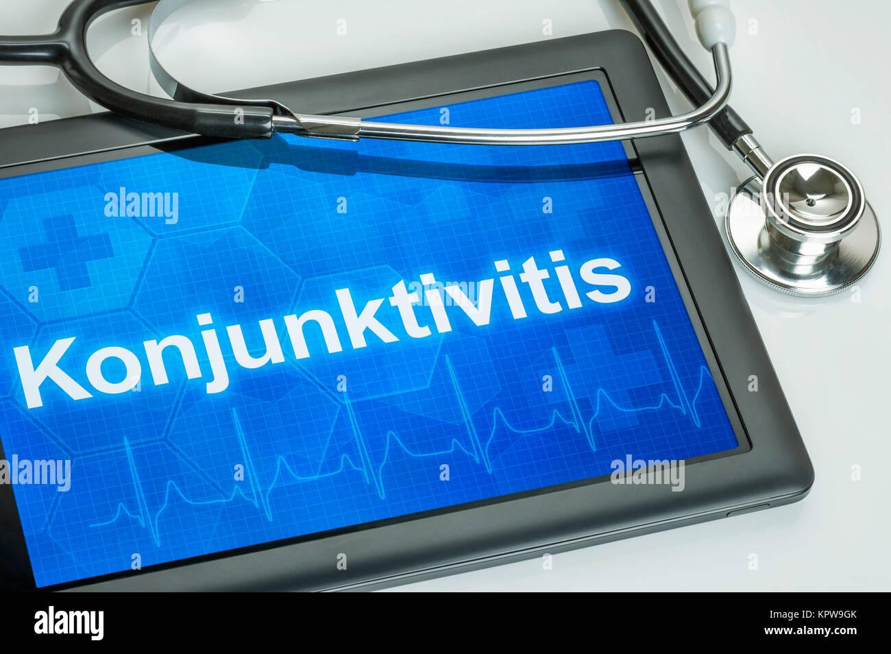 Tablet mit der Diagnose Konjunktivitis auf dem Display Stock Photo