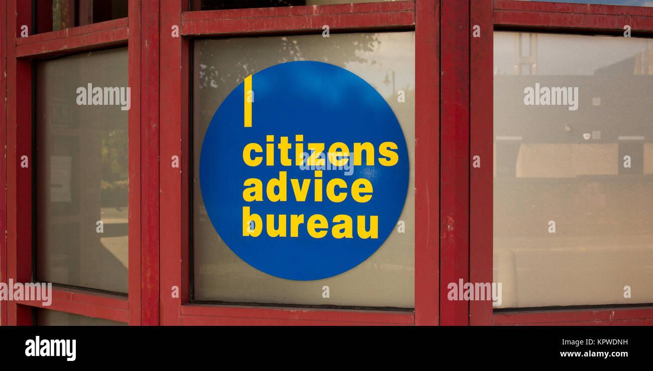 Citizens Advice Bureau logo on sign in window - Stock Image