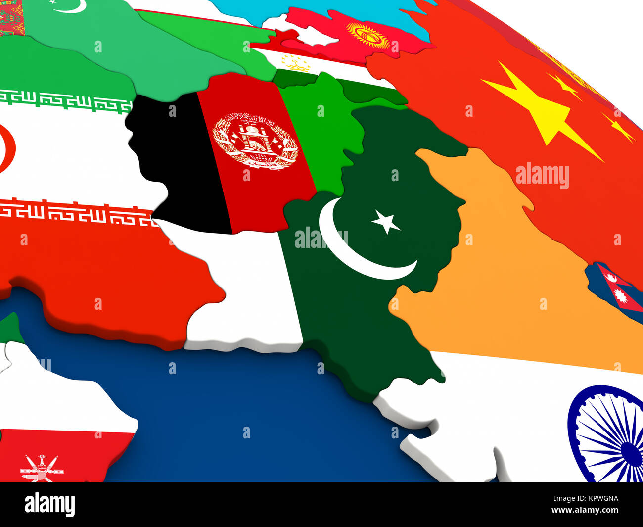 Afghanistan and Pakistan on globe with flags Stock Photo