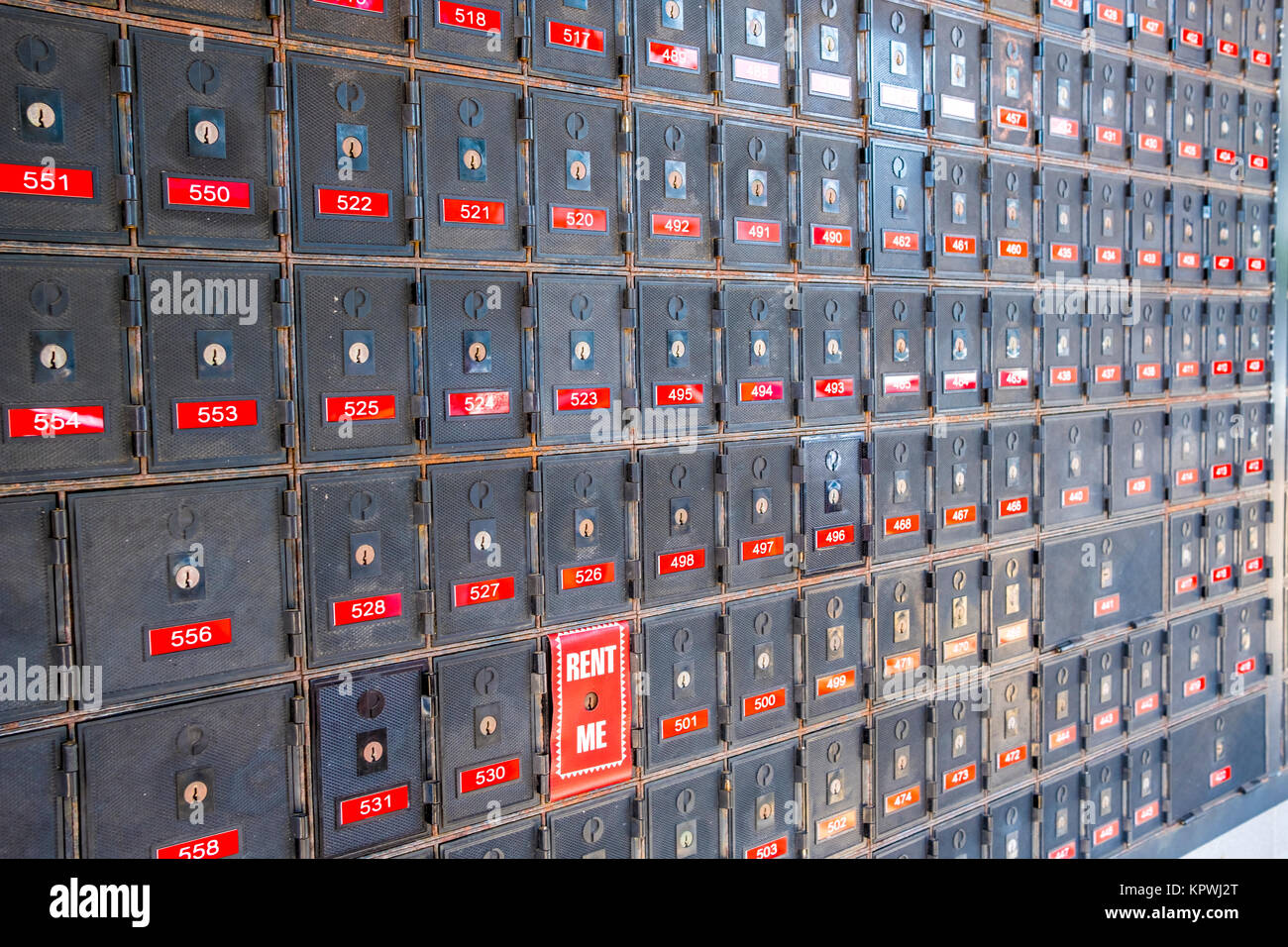 Australia Post secure private mailboxes located outside the post office - Stock Image