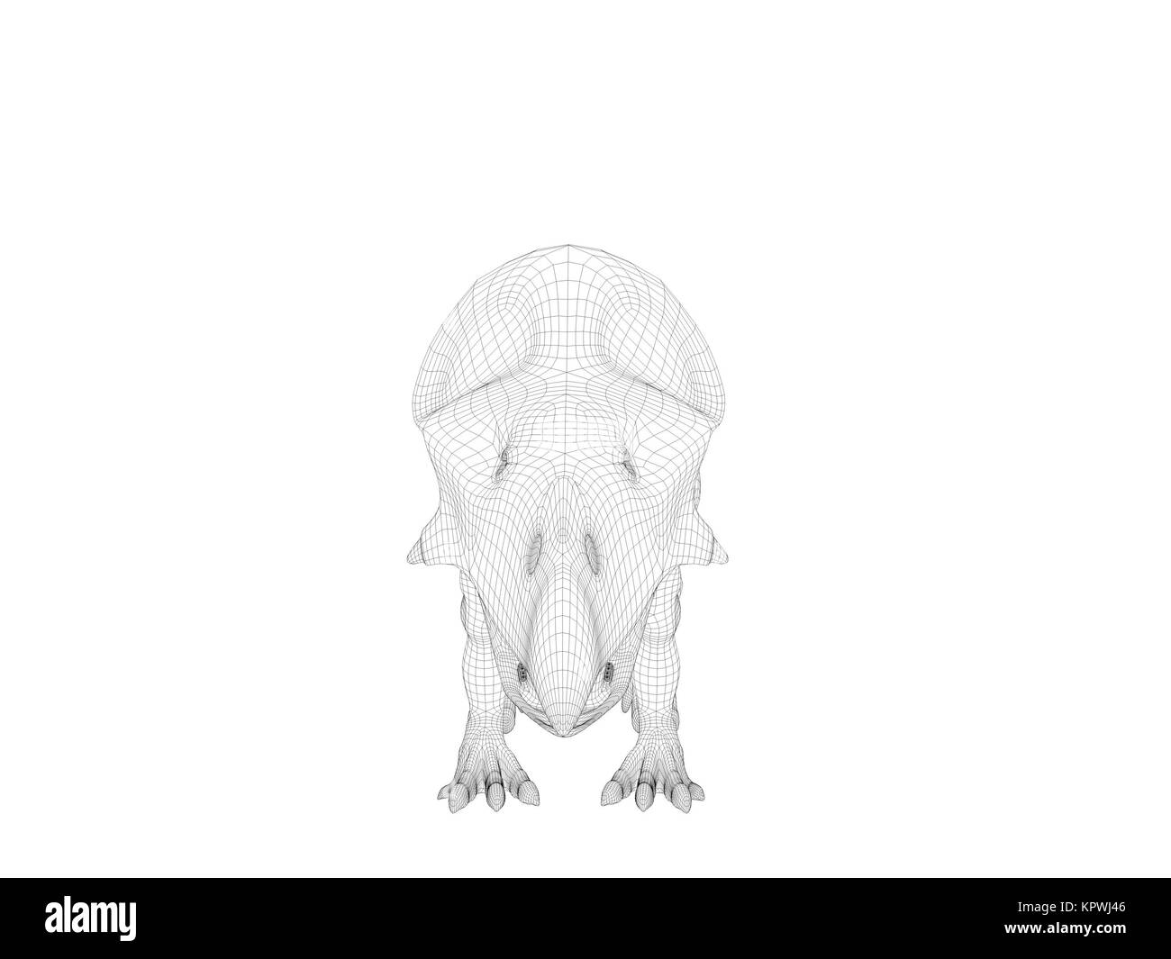 3d wireframe dinosaur - Stock Image