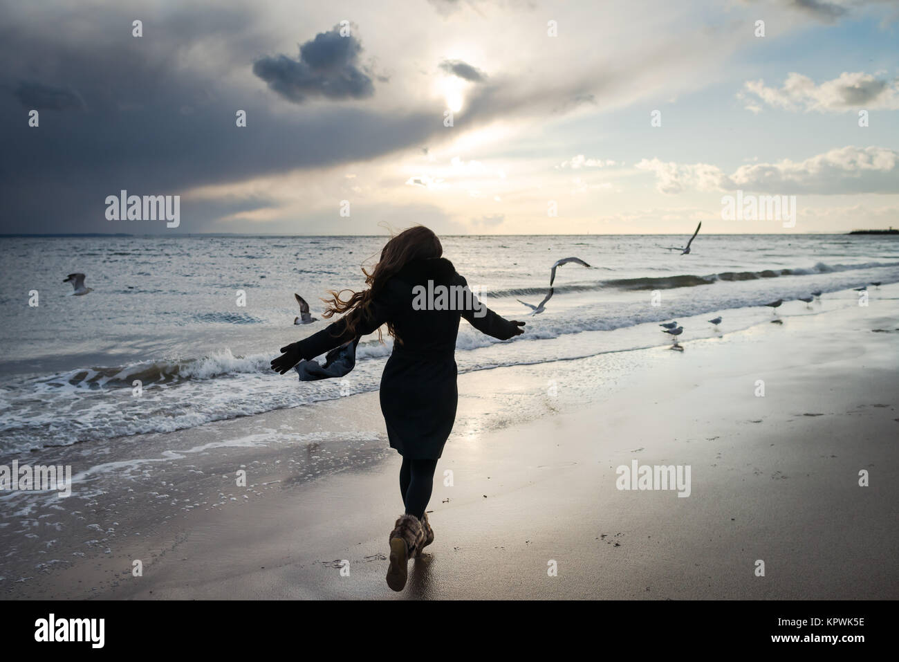 Birds Girl Woman Flying Stock Photos & Birds Girl Woman ...