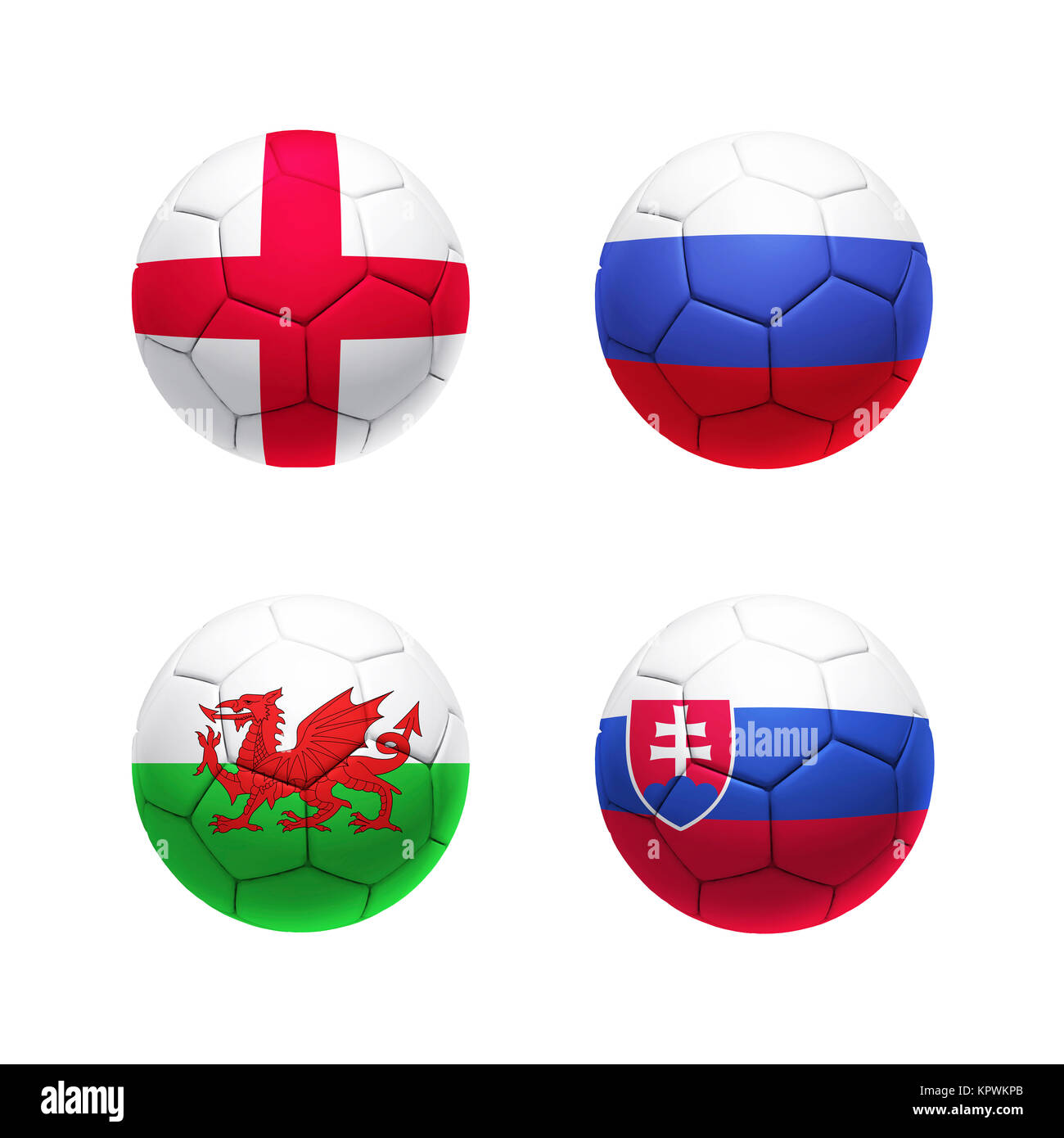 3D soccer ball with group B teams flags - Stock Image