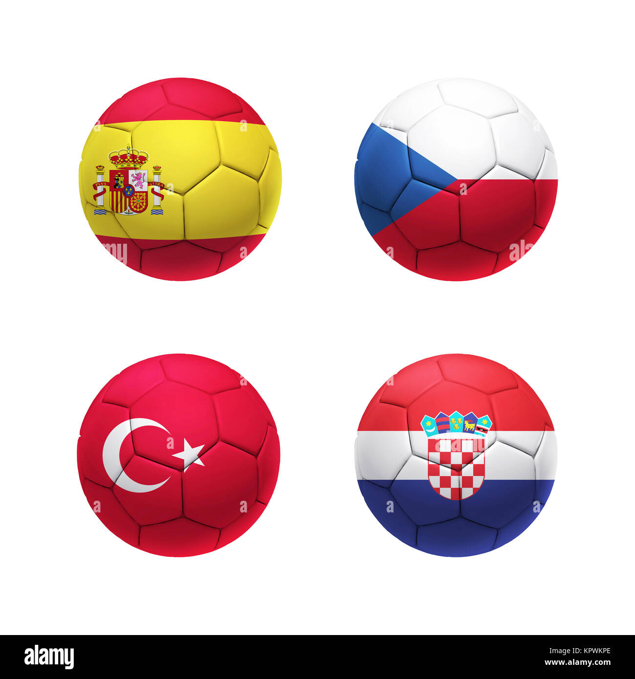 3D soccer ball with group D teams flags - Stock Image