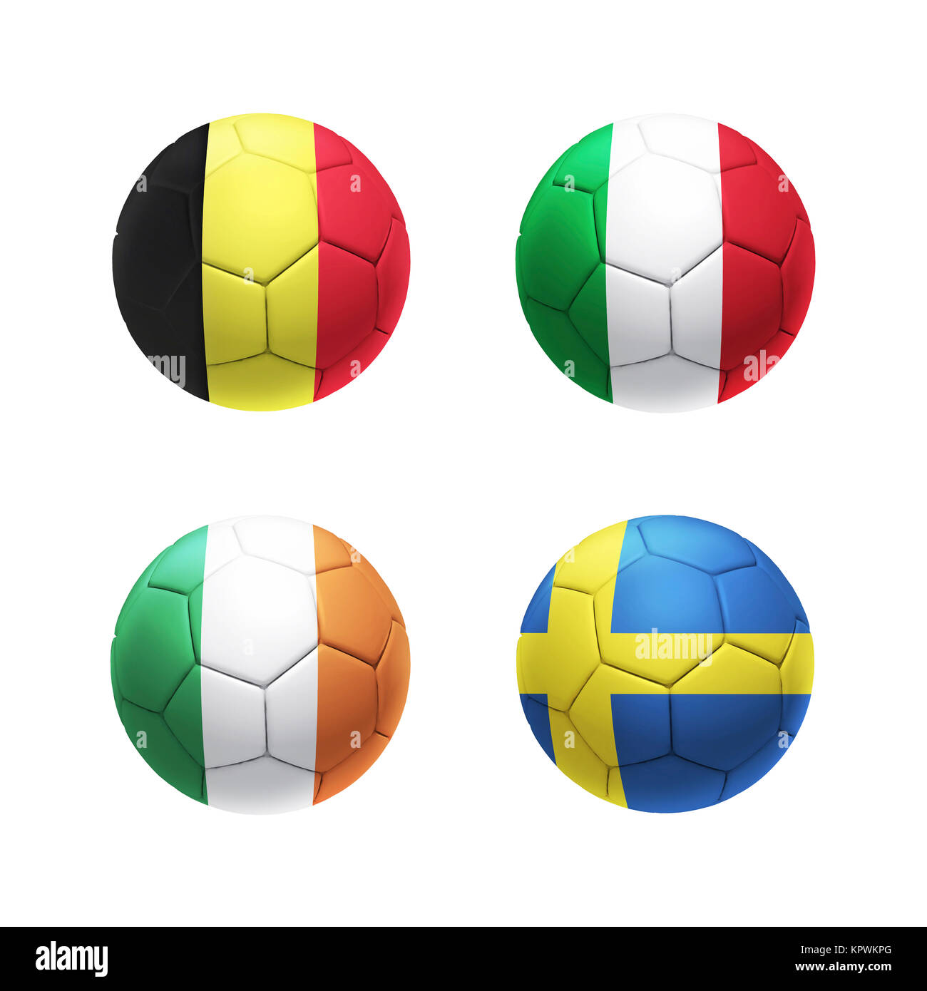3D soccer ball with group E teams flags - Stock Image