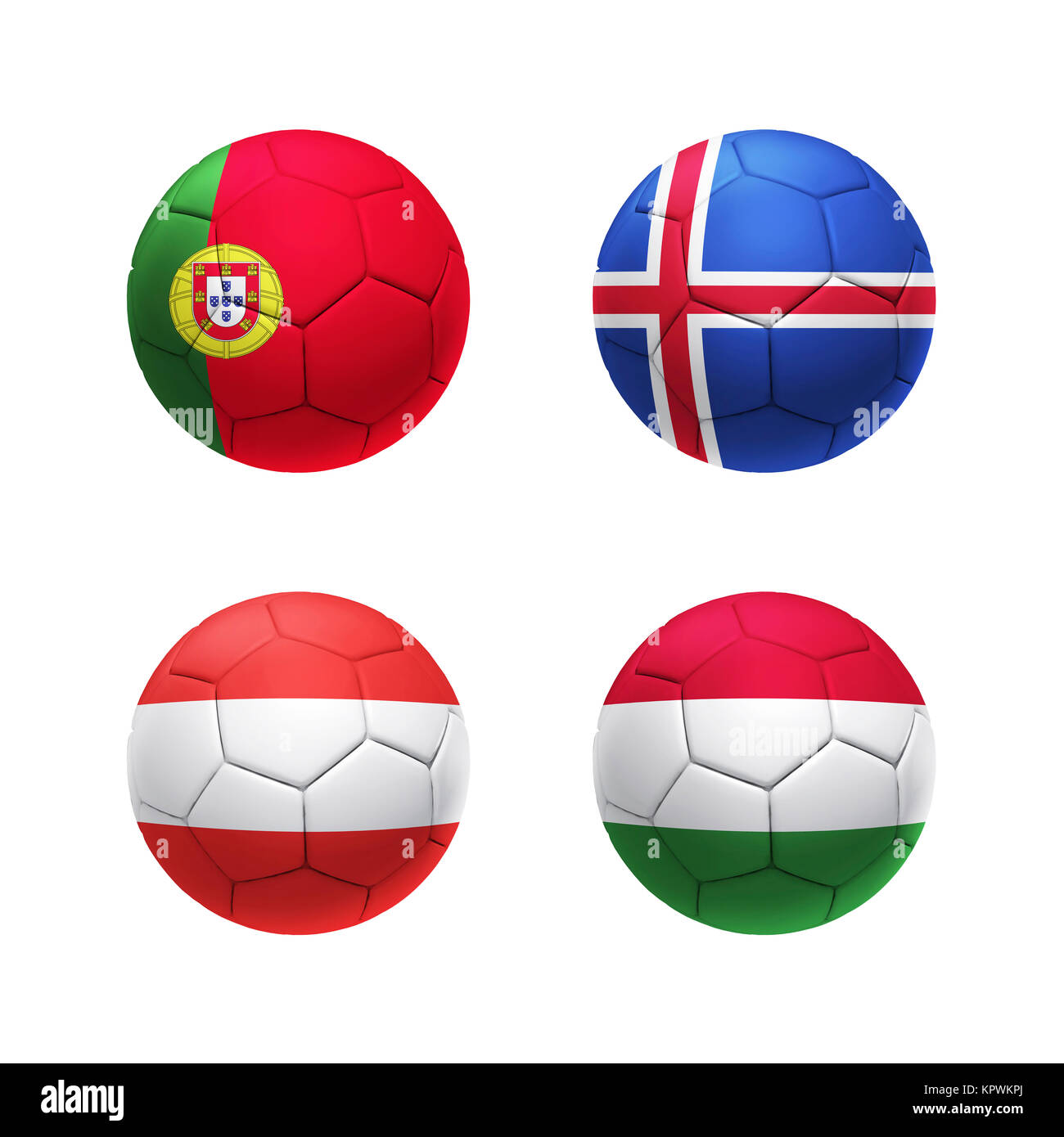 3D soccer ball with group F teams flags - Stock Image