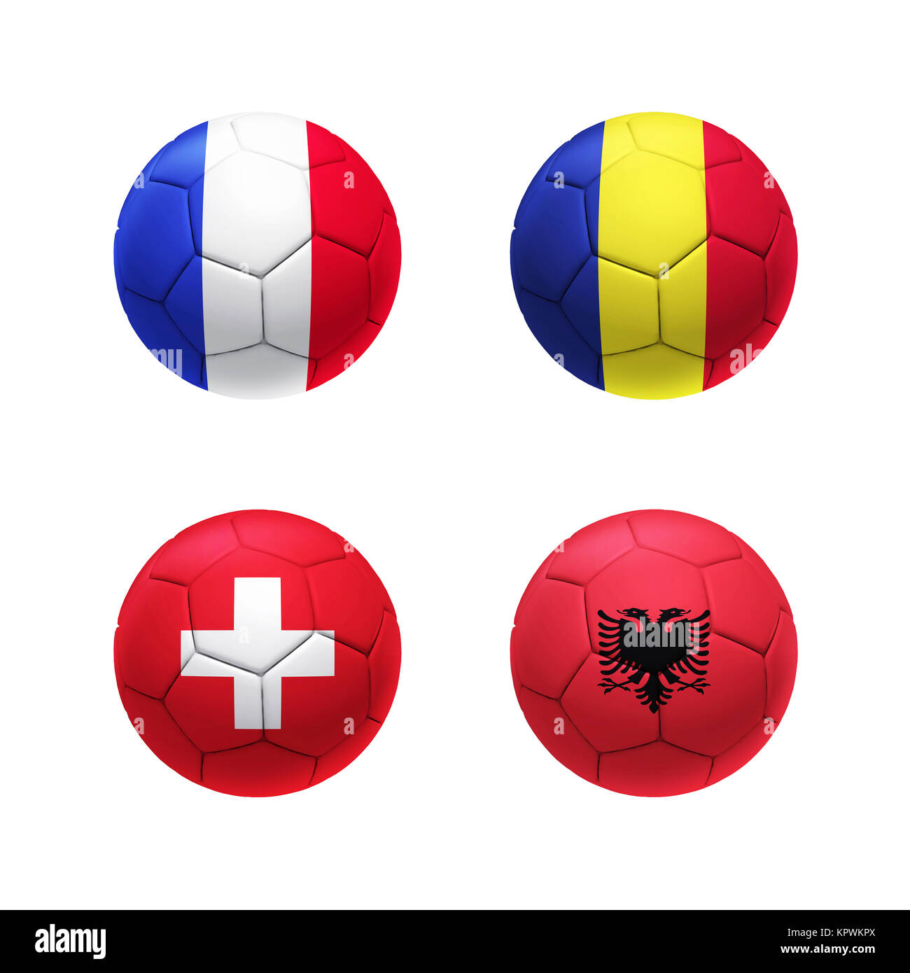 3D soccer ball with group A teams flags - Stock Image