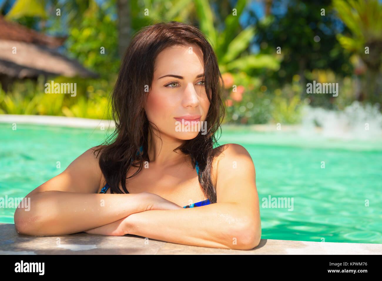 Nice female on a beach resort - Stock Image