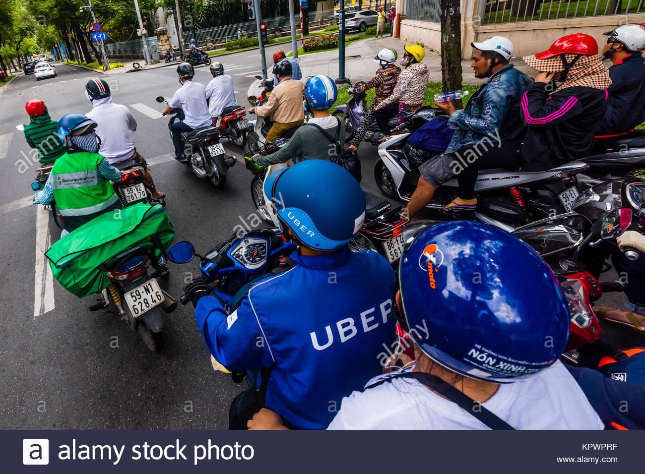 Uber drivers in Saigon drive motorcycles, Ho Chi Minh City (Saigon