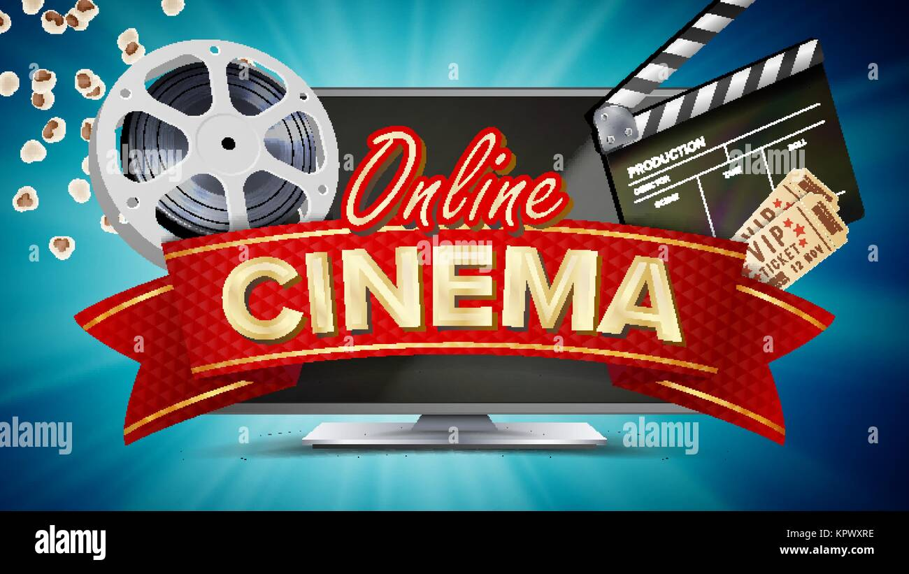 Online Cinema Vector Banner With Computer Monitor Popcorn 3D Glasses Film Strip Cinematography Movie Sign Bright Poster Illustration