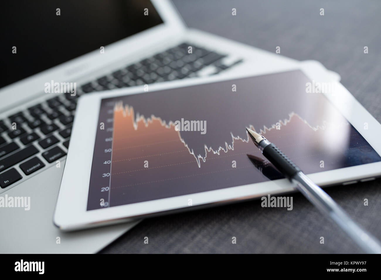Stock market analyze with digital tablet - Stock Image
