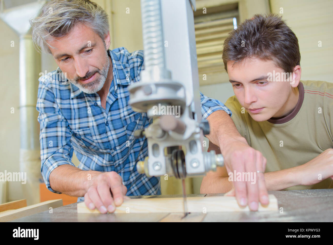 cutting wood - Stock Image