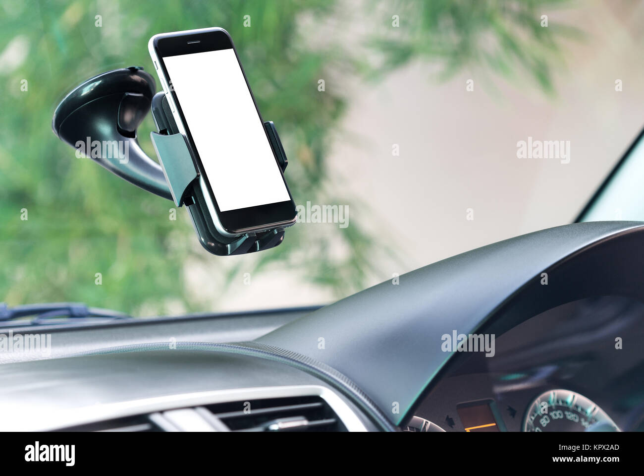close up phone mounted in car - Stock Image