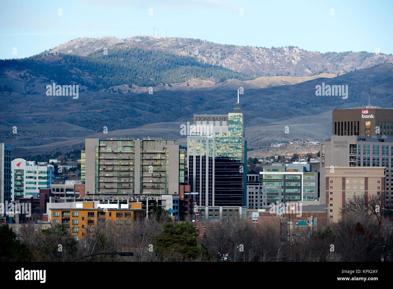 Boise Idaho cityscape in December 2017 - Stock Image