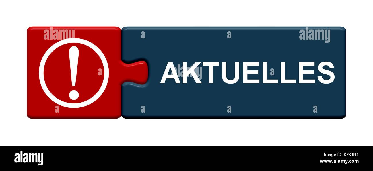 Isolierter Puzzle Button aus zwei Teilen mit Symbol zeigt Aktuelles ...