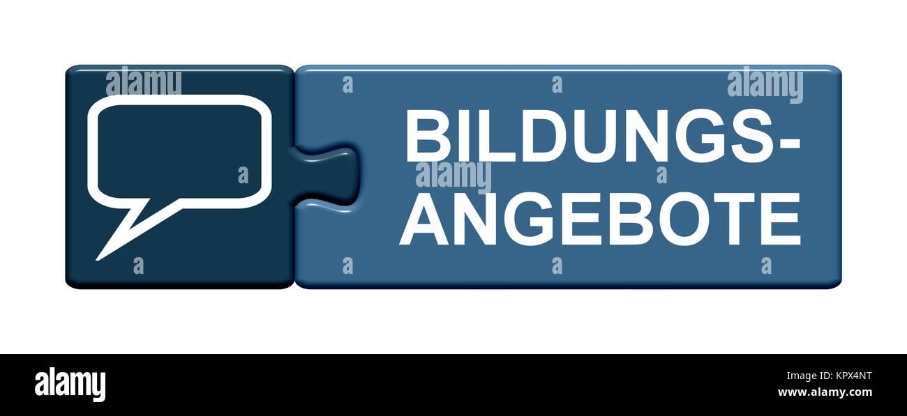 Isolierter Puzzle Button aus zwei Teilen mit Symbol zeigt Bildungsangebote Stock Photo