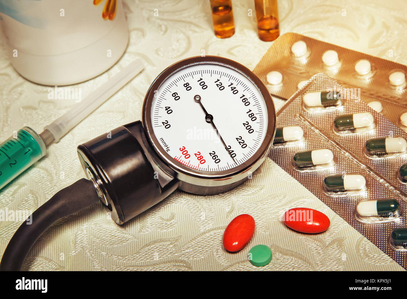 High blood pressure - hypertensive crisis and medications to treat. - Stock Image