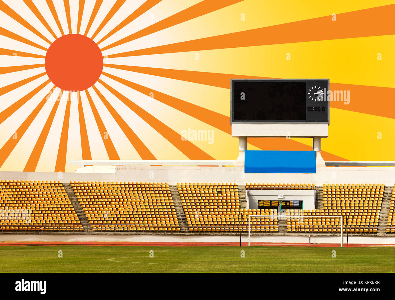 Stadium with scoreboard and sun ray - Stock Image