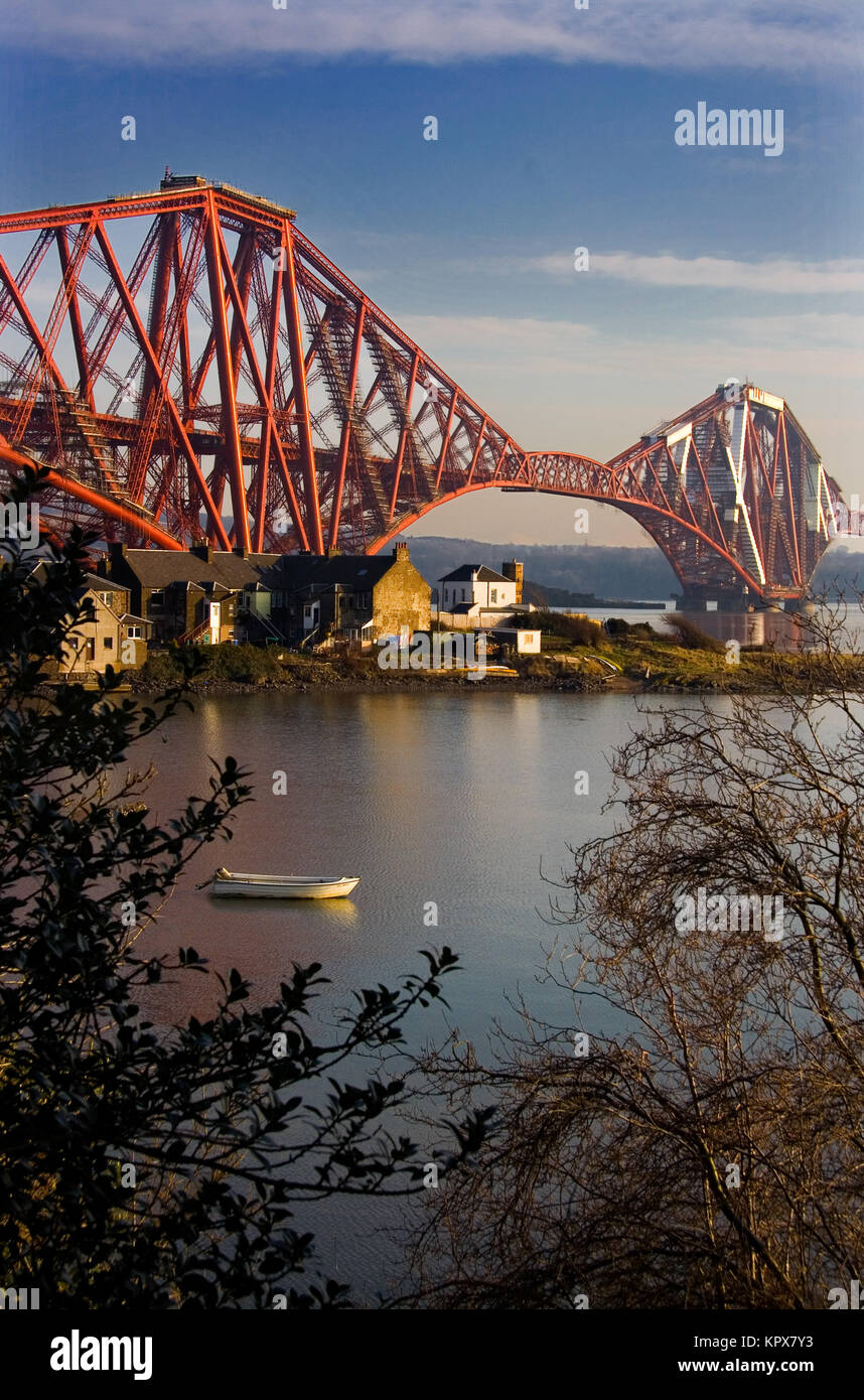 Forth Bridge and raw boat - Stock Image