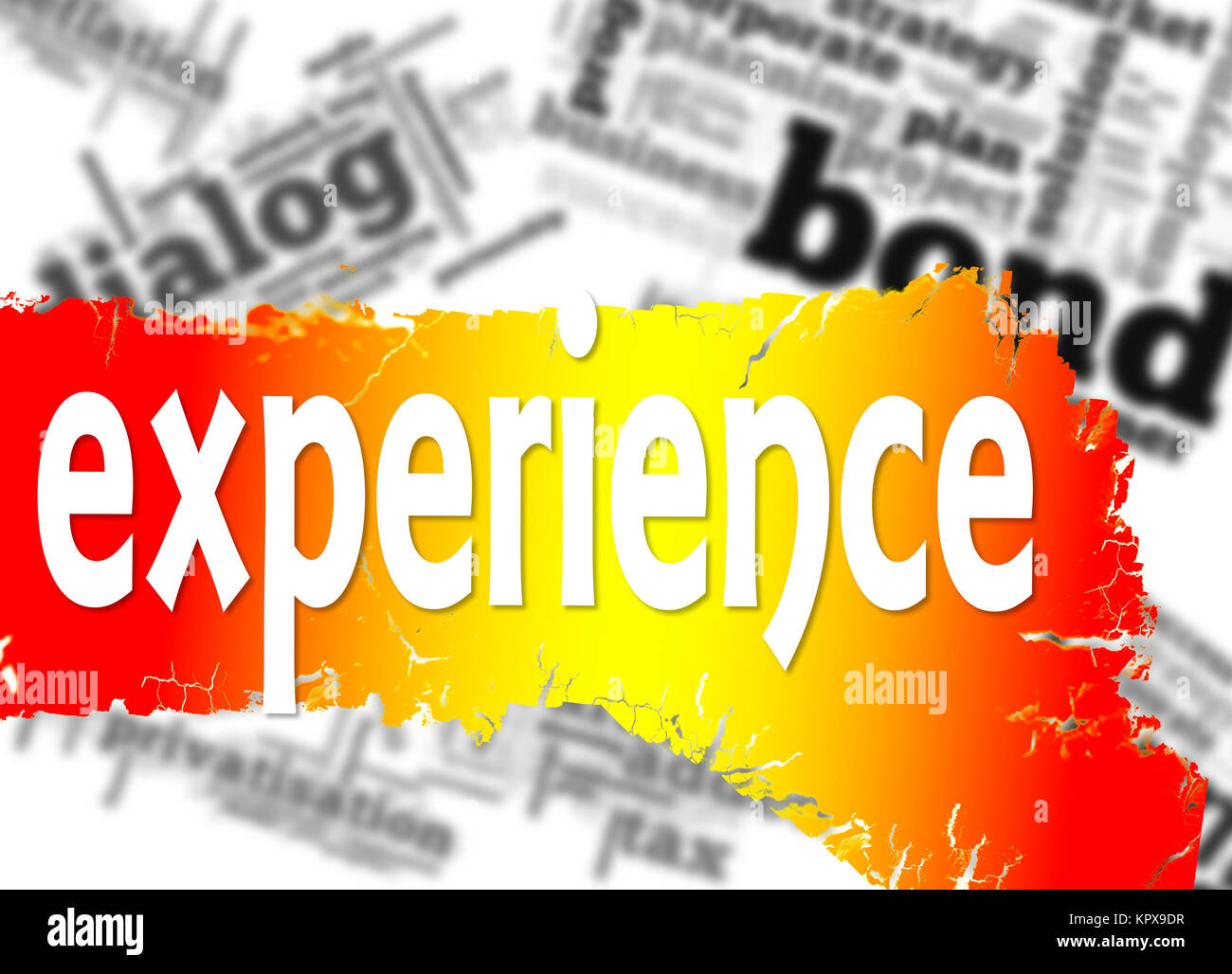Word cloud with experience word - Stock Image