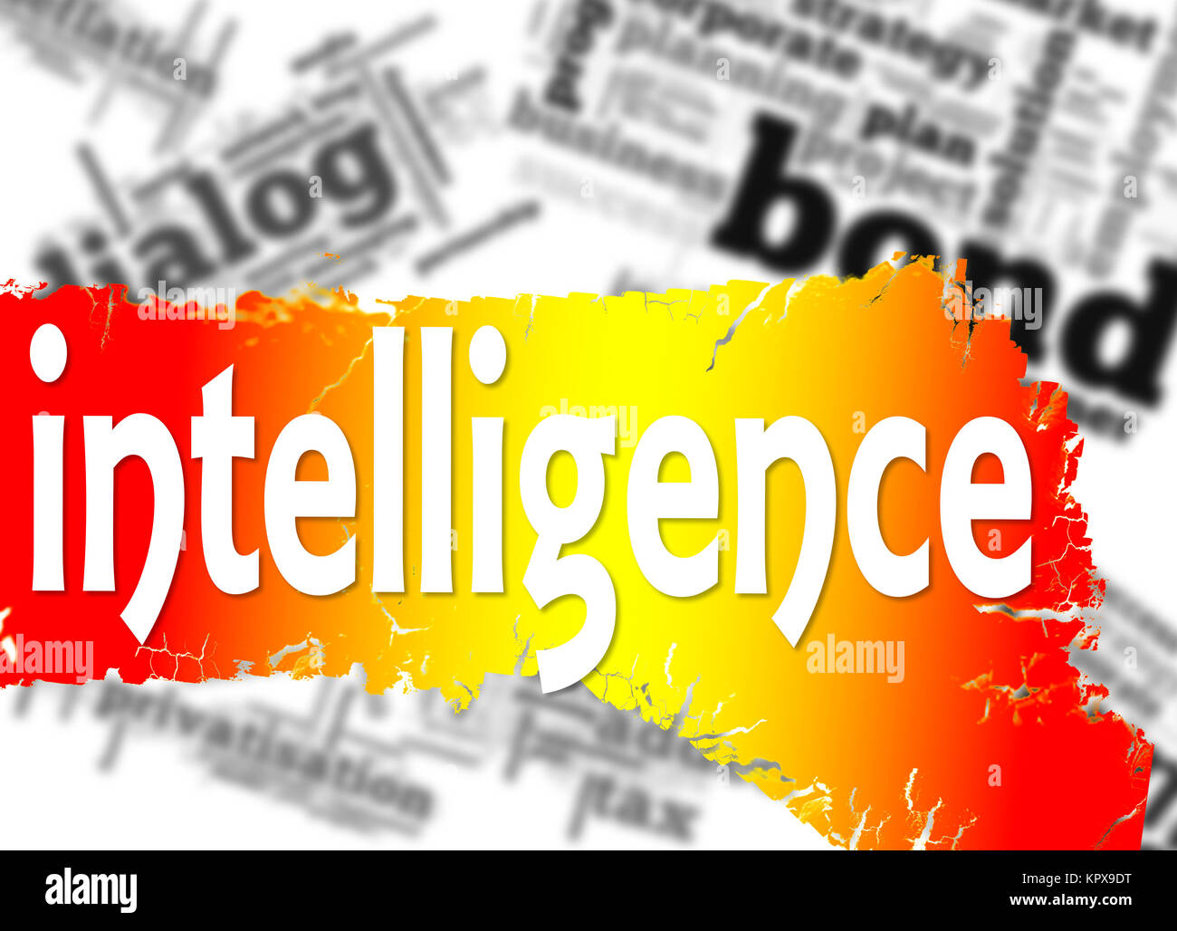 Word cloud with intelligence word - Stock Image