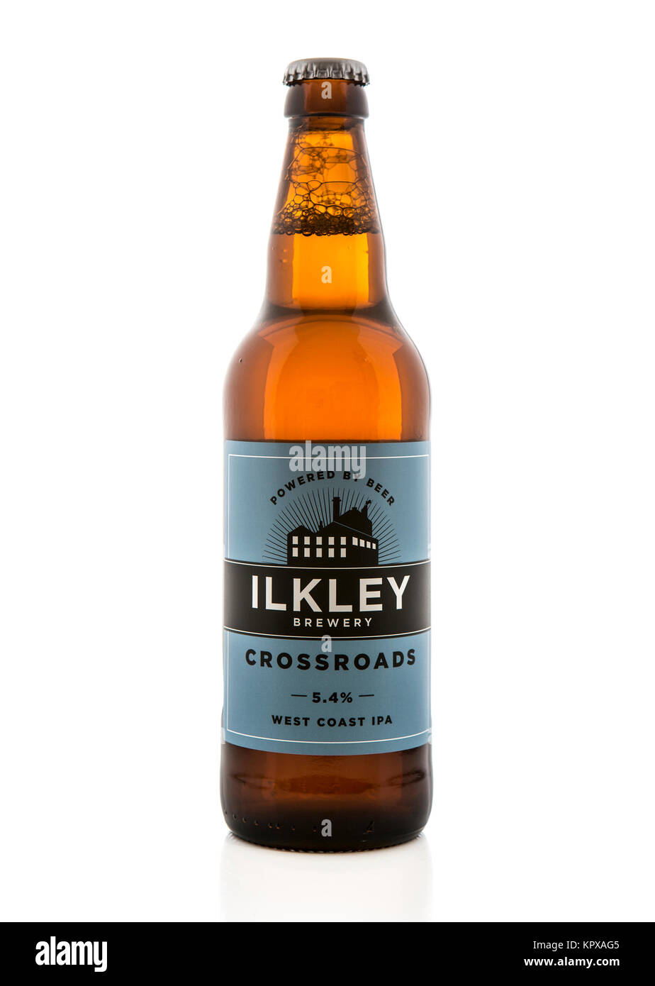 SWINDON, UK - DECEMBER 17, 2017: Ilkley brewery Crossroads west coast IPA, Powered by beer - Stock Image
