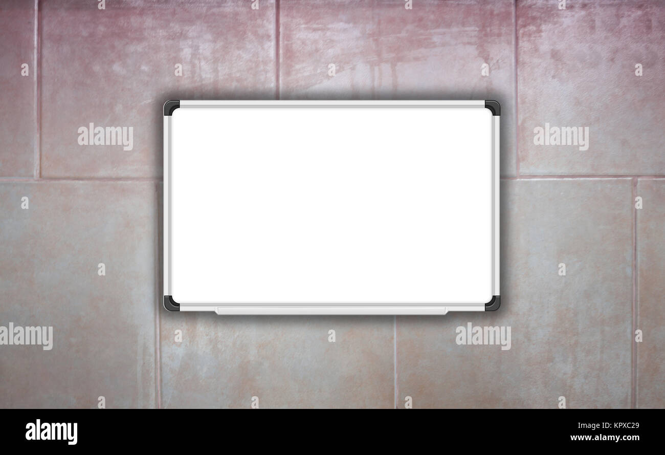 Blank white baord on ceramic tiles wall texture background - Stock Image