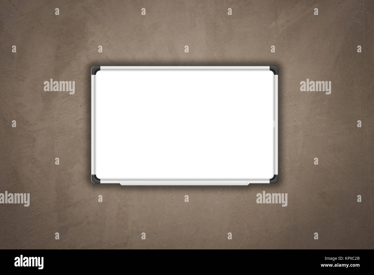 Blank white baord on concrete texture background - Stock Image