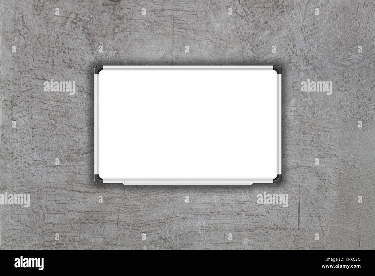 Blank white baord on gray concrete texture background - Stock Image