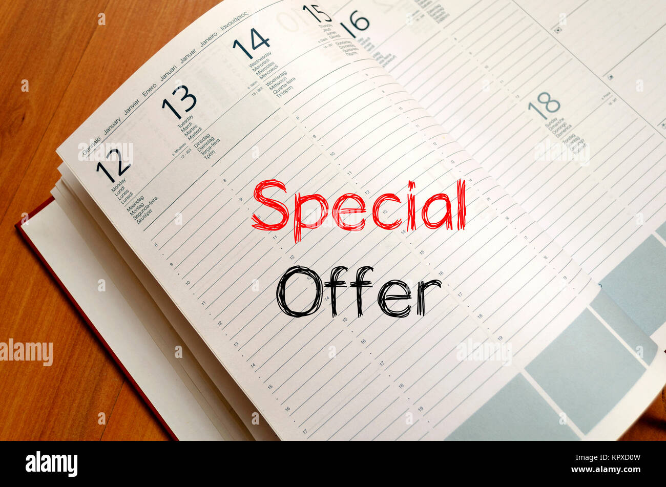 Special offer write on notebook - Stock Image