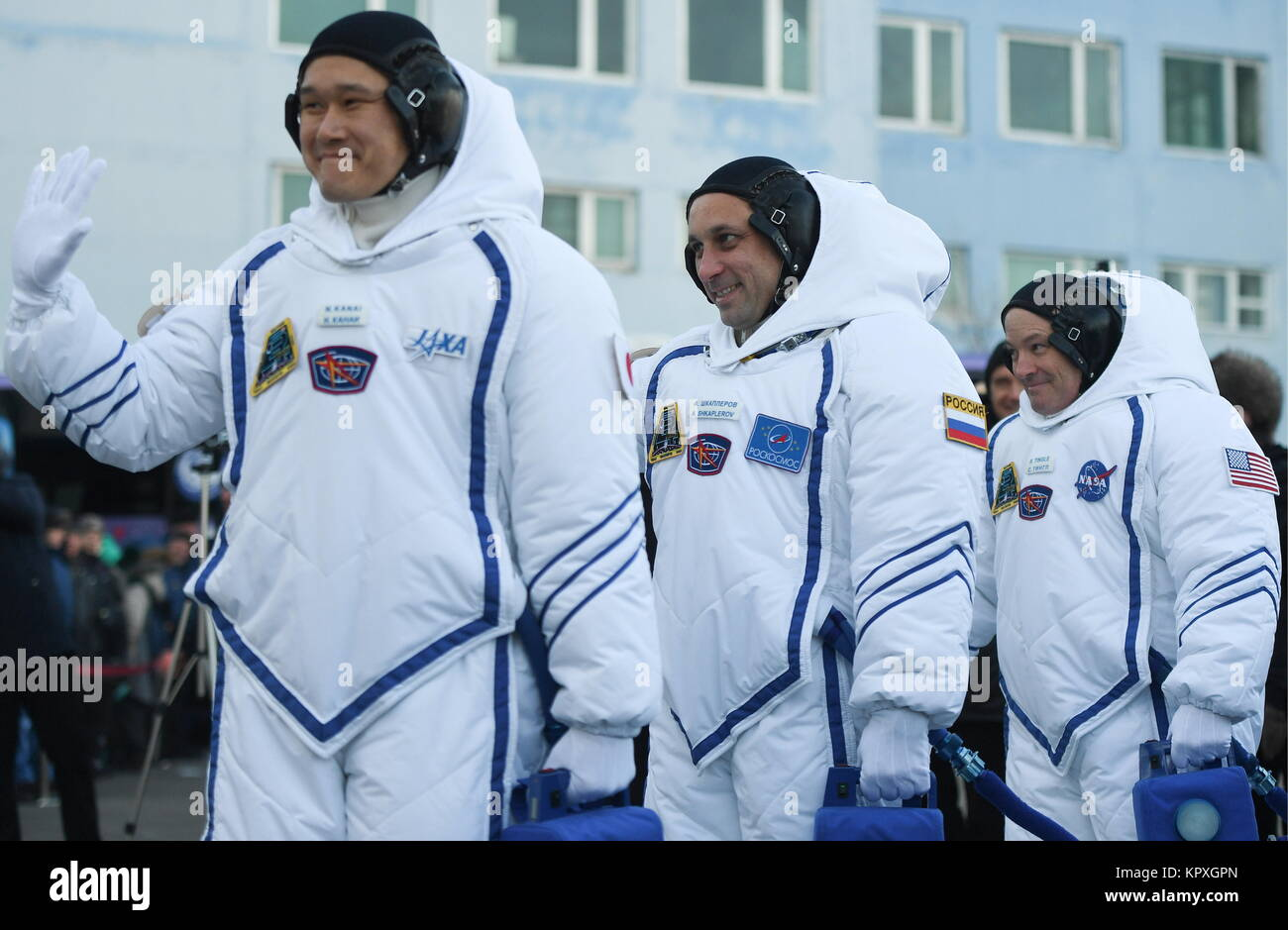Baikonur, Kazakhstan. 17th Dec, 2017. ISS Expedition 54/55 prime crew members, Japanese astronaut Norishige Kanai - Stock Image