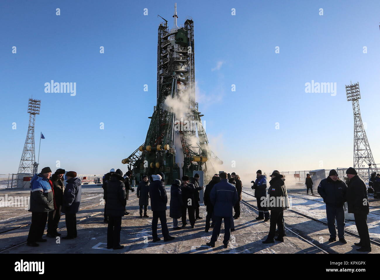 Baikonur, Kazakhstan. 17th Dec, 2017. A Soyuz-FG booster rocket carrying the Soyuz MS-07 spacecraft ahead of its - Stock Image