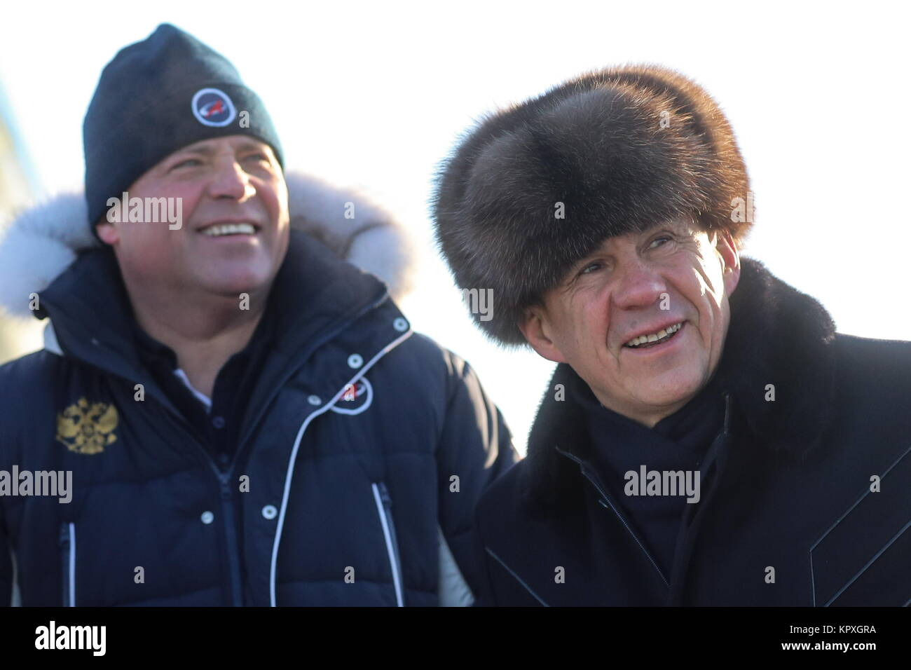 Baikonur, Kazakhstan. 17th Dec, 2017. Igor Komarov (L), Head of the Russian Federal Space Agency (Roscosmos), and - Stock Image