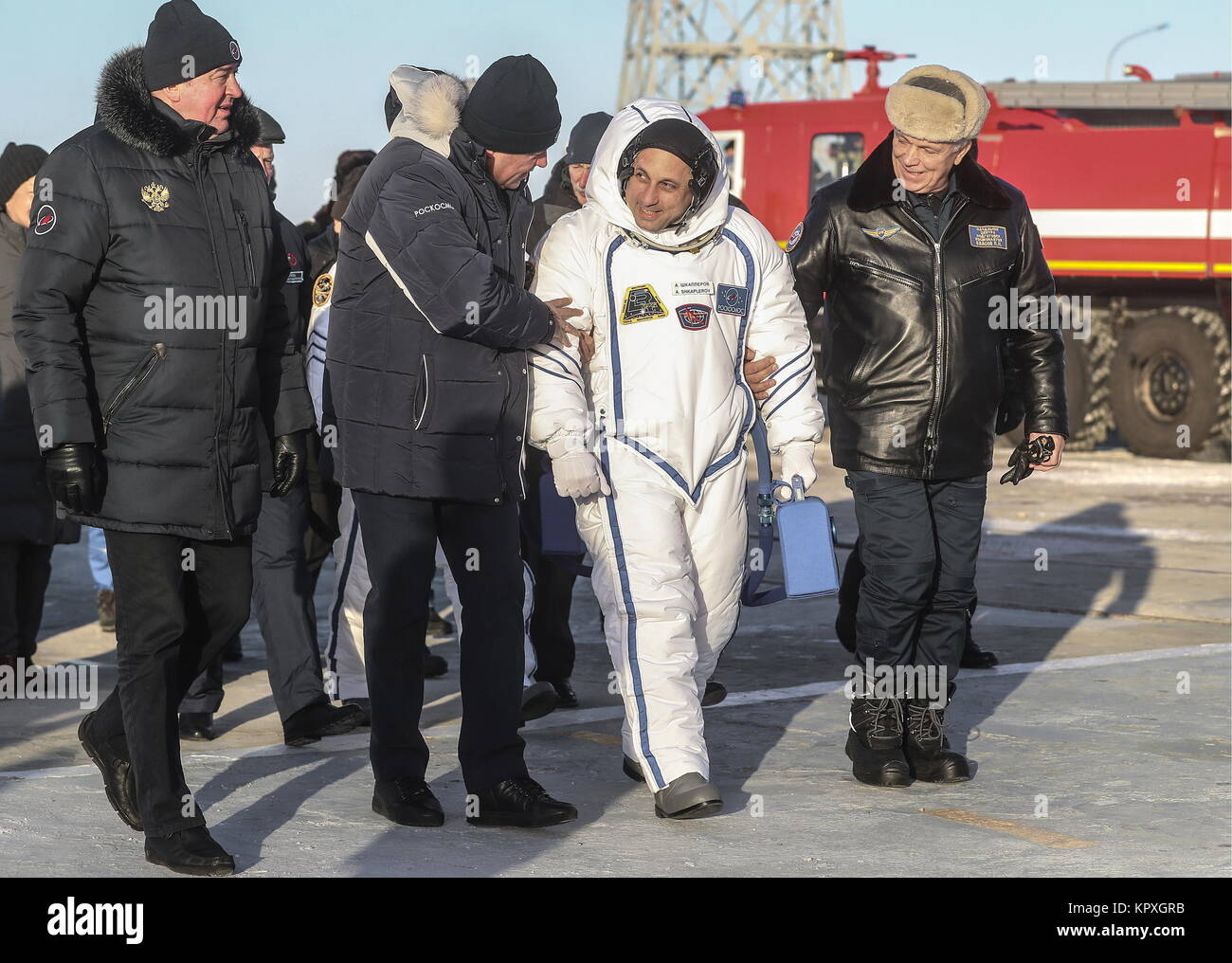 Baikonur, Kazakhstan. 17th Dec, 2017. A member of the ISS Expedition 54/55 prime crew, Russian cosmonaut Anton Shkaplerov - Stock Image