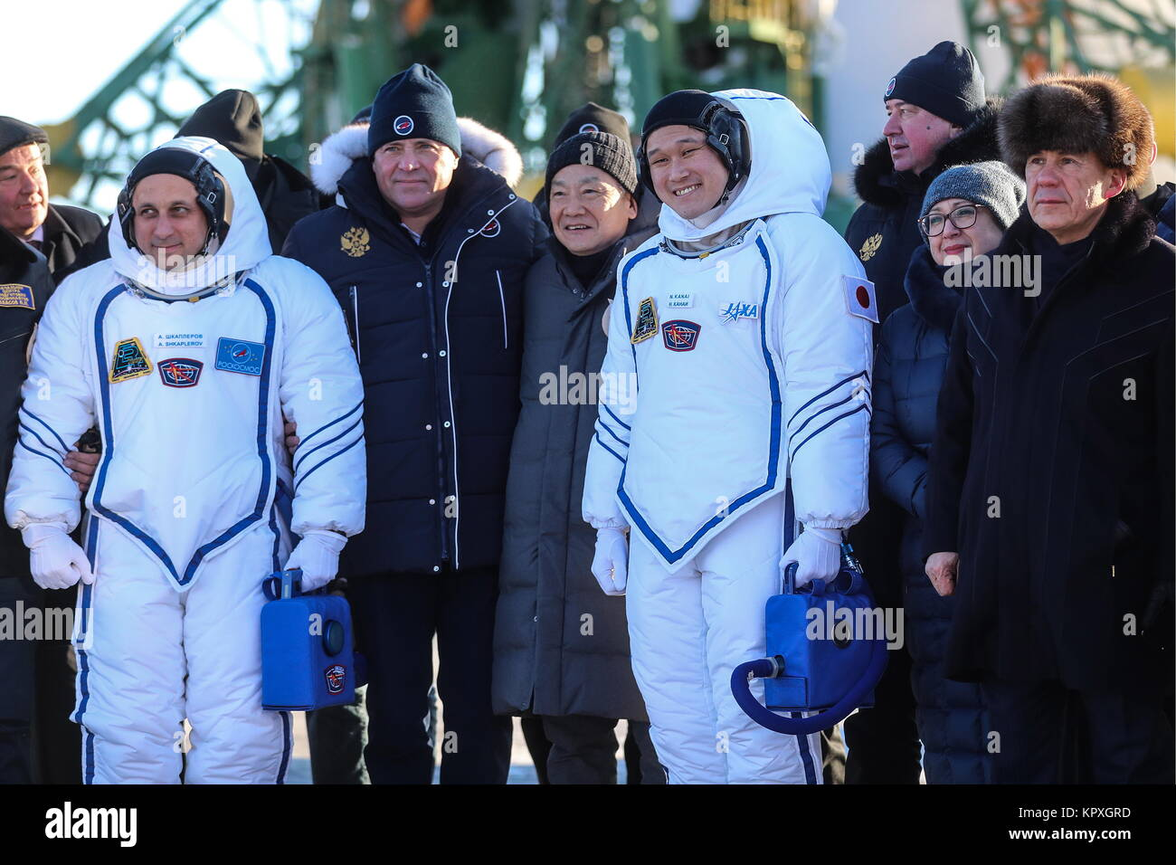 Baikonur, Kazakhstan. 17th Dec, 2017. Igor Komarov (2nd L front), Head of the Russian Federal Space Agency (Roscosmos), - Stock Image